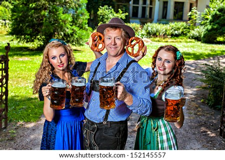 German woman doing a group with two guys