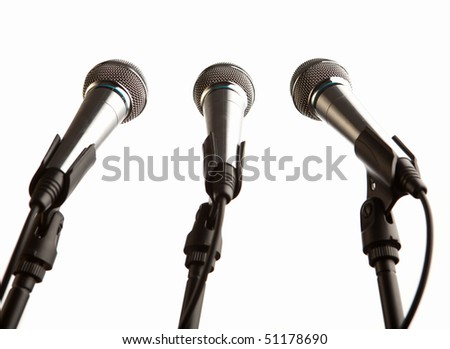 group of microphones isolated - stock photo