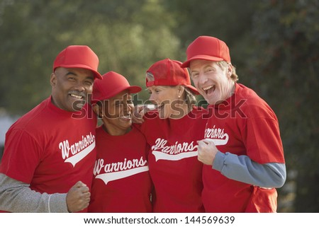 Group of middle-aged ball players - stock photo