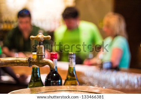Group of middle aged caucasian people tasting wine in South Africa - stock photo
