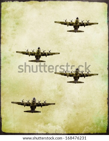 Group of military fighter plane in grunge style