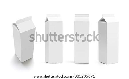 group of milk boxes. Retail package template set - stock photo