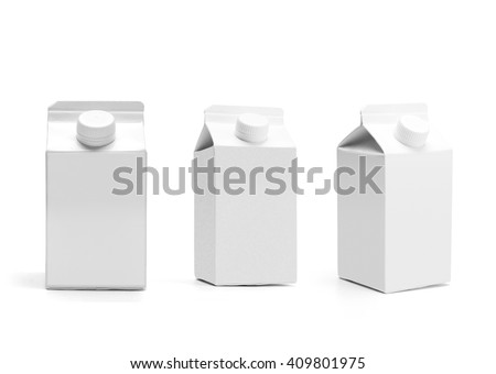 Group of milk boxes with lid. Retail package mockup set. Half liter boxes isolated on white. Blank boxes with original shadow - stock photo