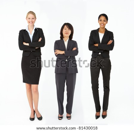 Group of mixed age and race businesswomen - stock photo