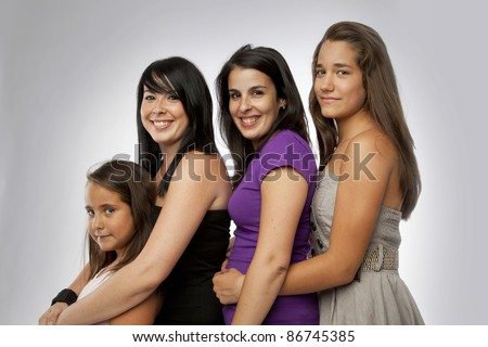 Group of Mixed Ages Girls - stock photo
