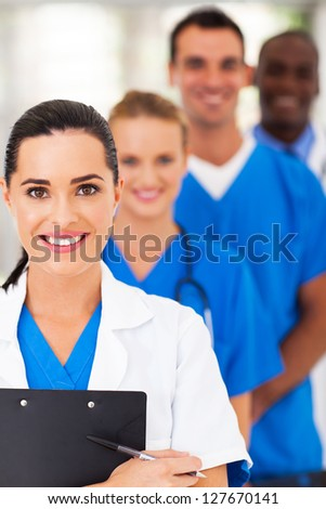 group of modern smart medical team closeup - stock photo