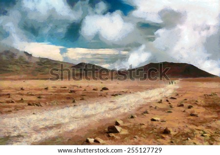 Group of mountaineers going by trail at high desert valley in Africa Painting - stock photo