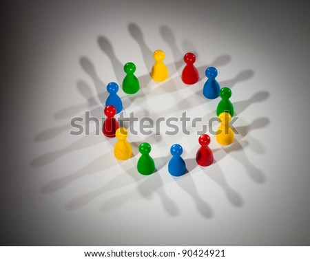 group of multi-colored people to represent social network, diversity, multi-cultural society, team work togetherness - stock photo