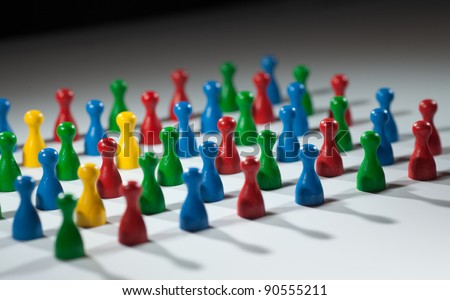 group of multi-colored people to represent social network, diversity, multi cultural society, team work togetherness - stock photo