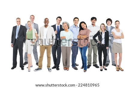 Group of multi-ethnic and diverse occupational people in a white background. - stock photo