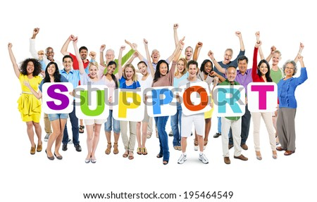 Group Of Multi-Ethnic Arms Outstretched And Holding 7 Placards Forming Support. - stock photo