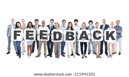 Group of Multi-Ethnic Business And Casual People Holding Placards That Form Feedback - stock photo