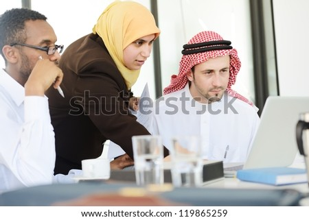 Group of multi ethnic business people at work