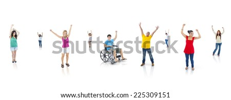 Group of multi-ethnic cheerful young people. - stock photo
