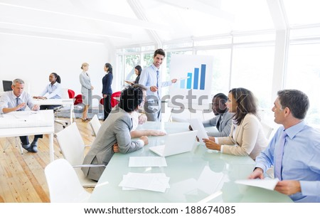 Group of Multi Ethnic Corporate People Having a Business Meeting - stock photo