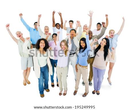 Group of Multi Ethnic Diverse People Celebrating - stock photo