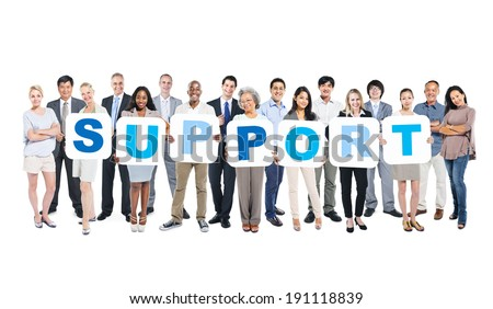 Group Of Multi-Ethnic People Holding The World Support - stock photo