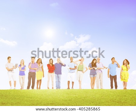 Group Of Multi-Ethnic People Social Networking Outdoors Concept