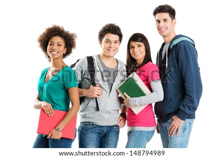 Group Of Multi Ethnic Students Isolated On White Background  - stock photo