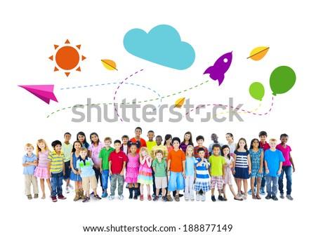 Group of Multiethnic Cheerful Children Childhood Activities - stock photo