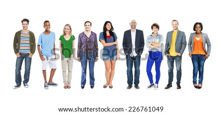 Group of Multiethnic Colorful People in a Row - stock photo
