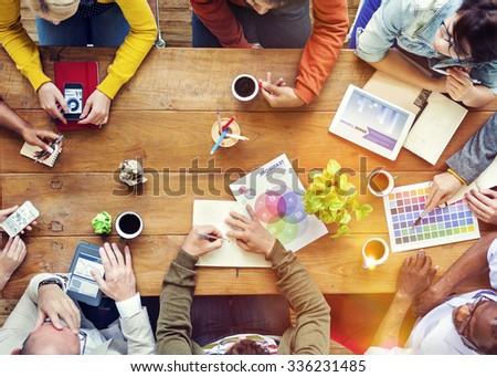 Group of Multiethnic Designers Brainstorming Concept - stock photo