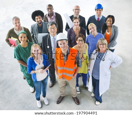 Group of Multiethnic Diverse People with Different Jobs - stock photo