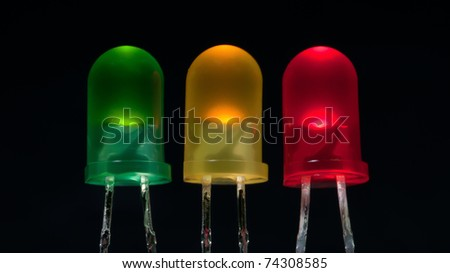 group of multiple color emitting led on a black background