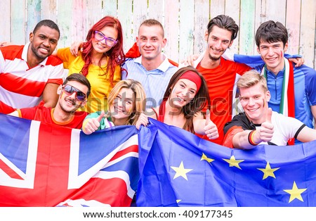 Group of multiracial football sport fans holding flags of european countries united  - Multicultural cheerful  supporter friends with national soccer team color - Joyful moment  sportive event concept - stock photo