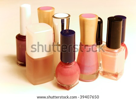 Group of nail polish bottles - stock photo