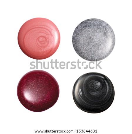 group of nail polish isolated on white  - stock photo