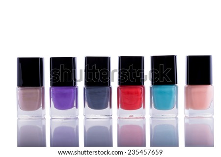 Group of Nail Polishes Isolated on a White Background.