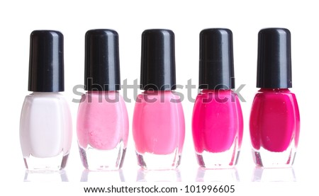Group of nail polishes isolated on white - stock photo
