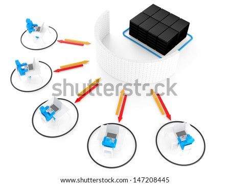 Group of network server firewall 3d image for Illustration - stock photo