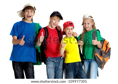 Group of nice children in bright T-shirt on a white background - stock photo