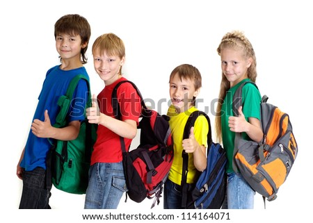 Group of nice children in bright T-shirt on a white background