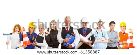 Group of nine happy business people with different occupations - stock photo