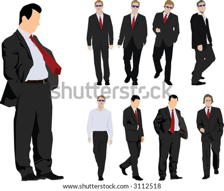 Group of nine powerful businessmen. Colour silhouette - stock photo
