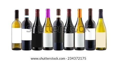 Group of nine whine bottles isolated on white - stock photo