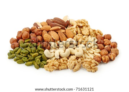Group of nuts isolated on white background - stock photo