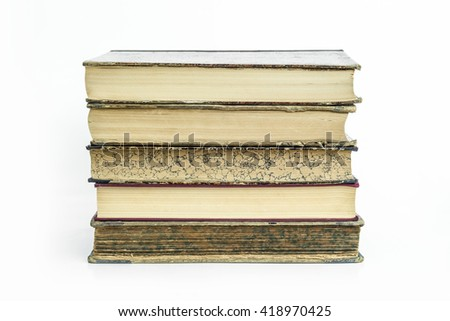 Group of old ancient books with isolated white background