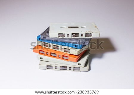 group of old cassette tapes - stock photo