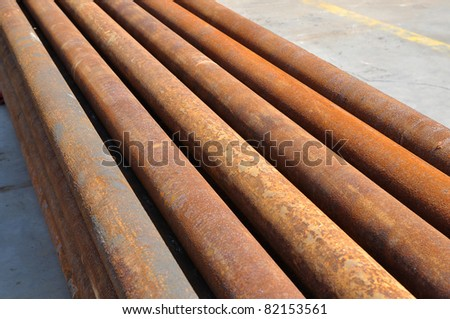 Group of old rusty pipes shot in the outdoor - stock photo
