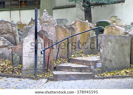 Group of old tomb stones in the Jewish Quarter (Josefov) cemetery, Prague , Czech Republic - stock photo