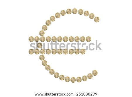 Group of one Euro coins, formed as Euro symbol on white background - stock photo