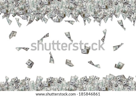 Group of one hundred dollar banknotes flying and falling down, isolated on white background. - stock photo