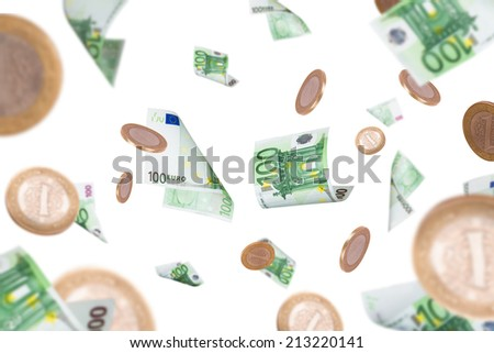 Group of one hundred euro banknotes and coins flying, isolated on white background. - stock photo