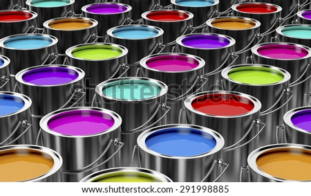 Group of paint cans with different colors - stock photo