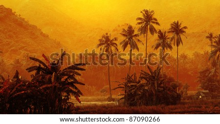 Group of palm trees on yellow background - stock photo