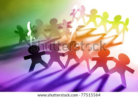 Group of paper chain people - stock photo